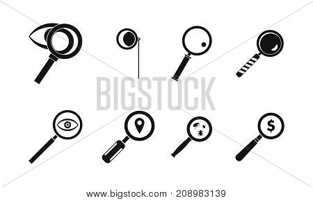 Magnifying glass icon set. Simple set of magnifying glass vector icons for web design isolated on white background