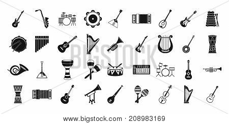 Musical instrument icon set. Simple set of musical instrument vector icons for web design isolated on white background