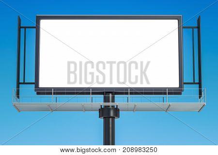 Outdoor empty advertising billboard 3D rendering on sky