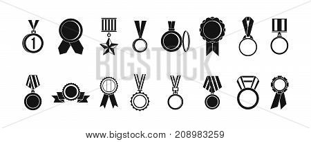Medal icon set. Simple set of medal vector icons for web design isolated on white background