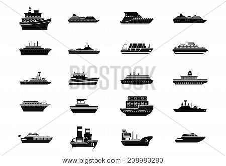 Ship icon set. Simple set of ship vector icons for web design isolated on white background