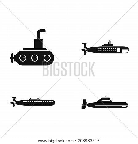 Submarine icon set. Simple set of submarine vector icons for web design isolated on white background