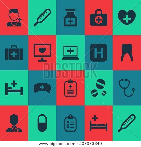Medicine Icons Set. Collection Of Chest, Hospital, Diagnosis And Other Elements