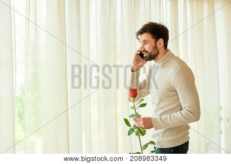 Caucasian man, phone and flower. Handsome guy holding red rose. Call from girlfriend.