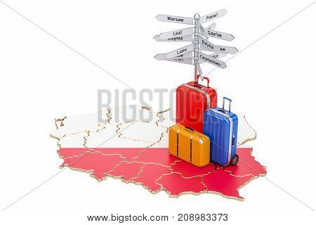 Poland travel concept. Polish flag on map with suitcases and signpost 3D rendering