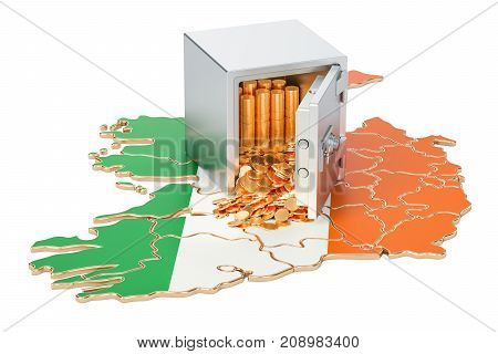 Safe box with golden coins on the map of Ireland 3D rendering isolated on white background