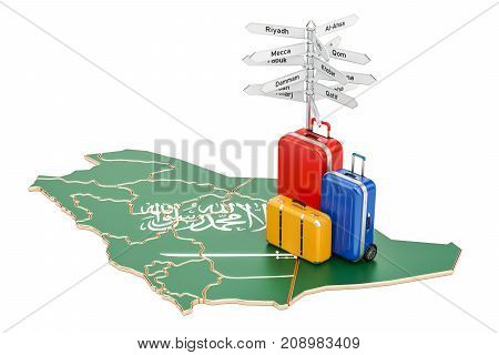 Saudi Arabia travel concept. Flag on map with suitcases and signpost 3D rendering