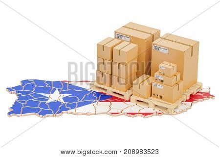 Shipping and Delivery from Puerto Rico isolated on white background
