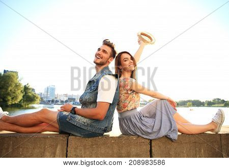 Young couple in love outdoor.Love, relationship and people concept.