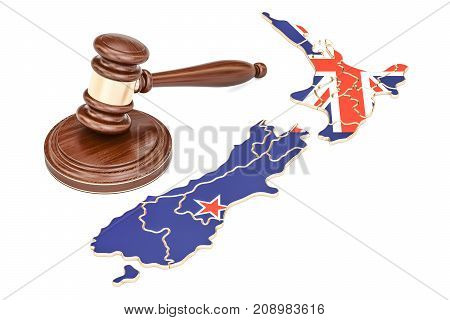 Wooden Gavel on map of New Zealand 3D rendering isolated on white background