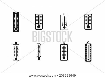 Thermometer icon set. Simple set of thermometer vector icons for web design isolated on white background