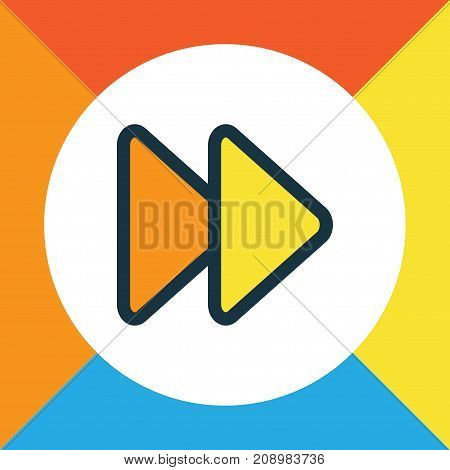 Premium Quality Isolated Next Element In Trendy Style.  Fast Forward Colorful Outline Symbol.