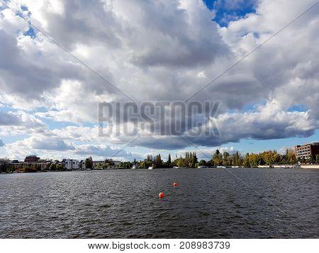 Panorama at the Rummelsburg lake in Berlin, the German capital