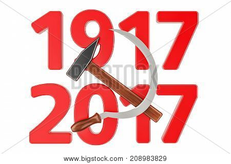 Anniversary of Russian Revolution 1917 concept 3D rendering isolated on white background