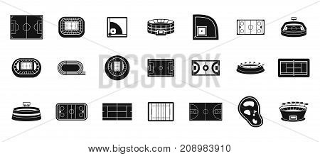 Sport arena icon set. Simple set of sport arena vector icons for web design isolated on white background