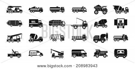 Truck icon set. Simple set of truck vector icons for web design isolated on white background