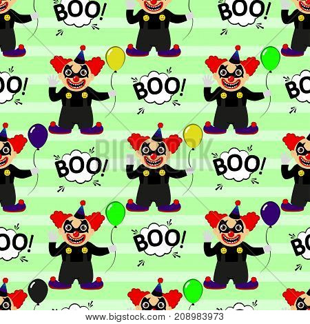 Abstract Seamless Pattern For Girls Or Boys. Creative Vector Background With A Clown, Scary Face, Ha