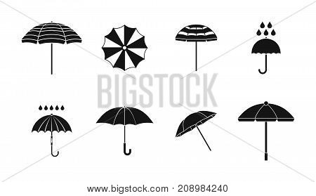 Umbrella icon set. Simple set of umbrella vector icons for web design isolated on white background