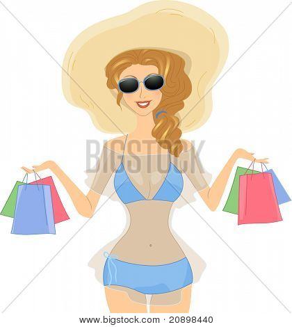 Illustration of a Girl Carrying Shopping Bags