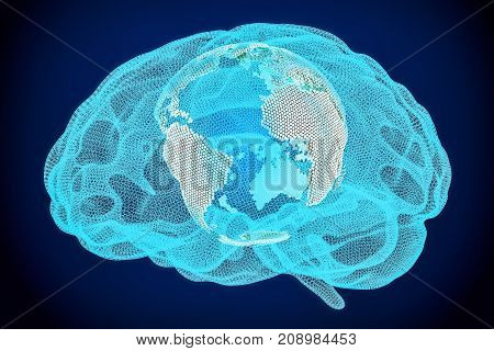 Global artificial intelligence technology concept 3D rendering