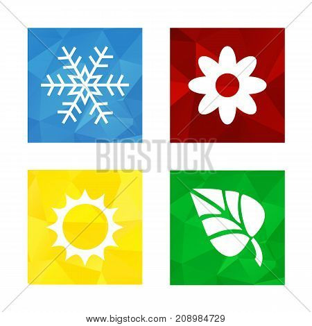 Colorful triangular low poly button in square shape with flat icon representing 4 seasons icons - snowflake for winter flower for spring sun for summer and leaf for autumn