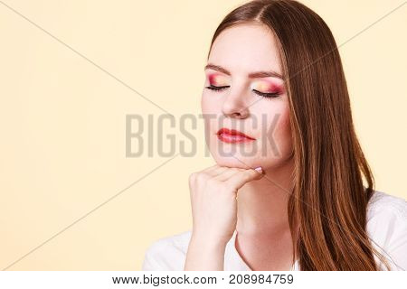 Attractive Woman With Thinking And Contemplating