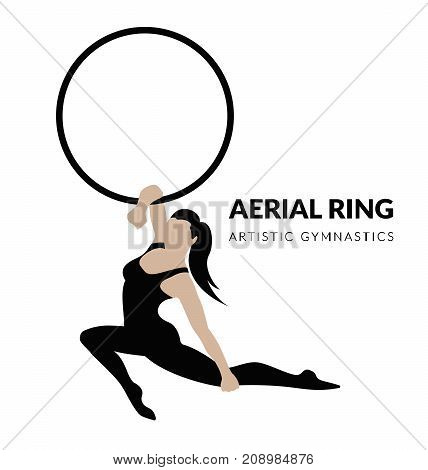 Woman gymnast aerial ring, isolated on white. Aerial hoop. Beautiful dance sport and fitness logo.