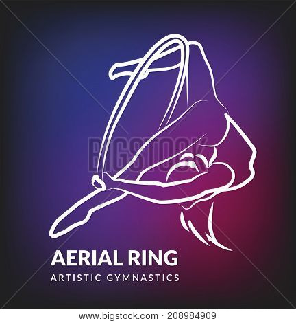 Woman gymnast aerial ring, line design. Aerial hoop. Beautiful dance sport and fitness logo.