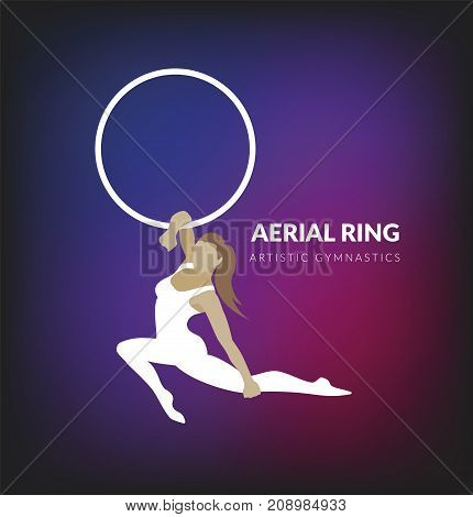 Woman gymnast aerial ring. Aerial hoop. Beautiful dance sport and fitness logo vector.