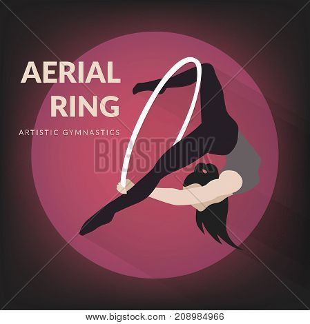 Woman gymnast aerial ring. Aerial hoop. Beautiful dance sport and fitness logo.
