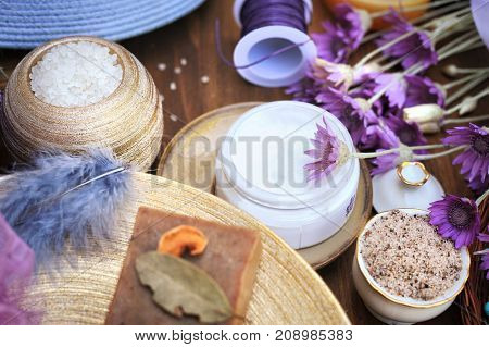 Organic natural cream, soap and bath salt, spa handmade artisan cosmetics collection background