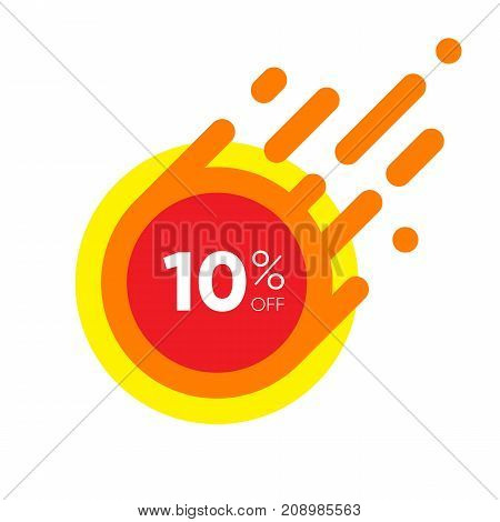 Ten percent OFF Sale Discount Banner. Special offer red label. Flat designed Sticker Illustration isolated on white Background