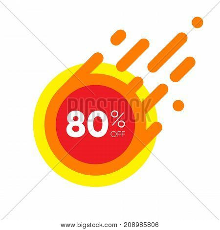 Eighty percent OFF Sale Discount Banner. Special offer red label. Flat designed Sticker Illustration isolated on white Background