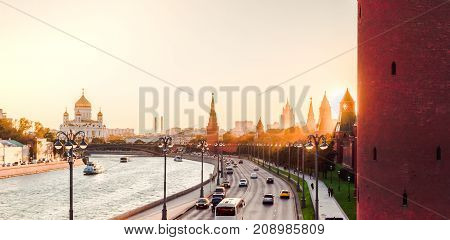 Sunset view of Moscow Kremlin and Moscow River in Moscow, Russia. Moscow architecture and landmark,