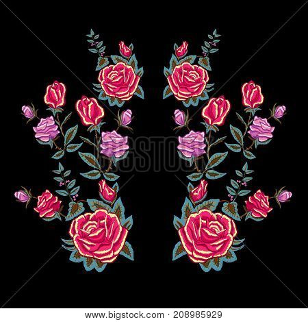 Embroidery traditional neckline pattern with red roses. Vector embroidered floral patch  with flowers for clothing design.