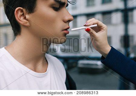 man social smoking drug addiction bad habit youth lifestyle cancer concept