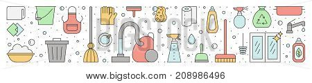 Cleaning outline vector horizontal multicolored illustration (header).