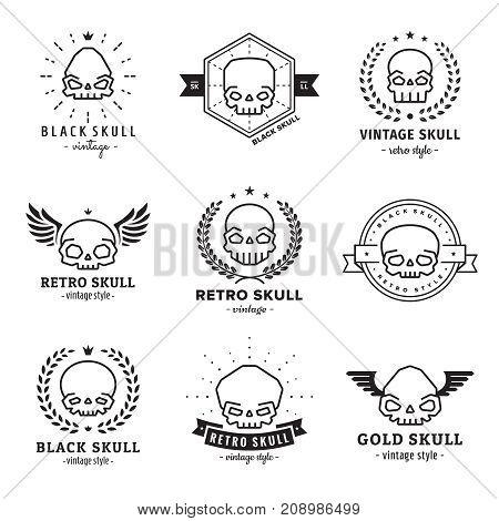 Skulls outline black logo vector set. Vintage design.