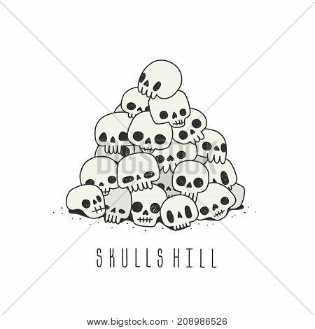 Doodle hand drawn cute naive skulls hill vector. Black white and gray.