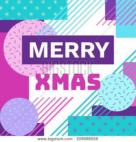 Merry christmas geometric greeting card in trendy memphis 90s style with triangles, lines, text, snowflakes, party background or invitation template, banner, cover, vector illustration