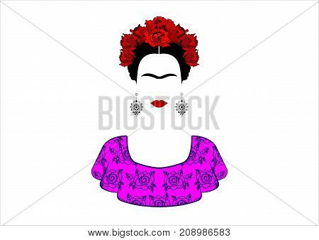 a, portrait the young beautiful mexican woman with a traditional hairstyle. Mexican crafts earrings, red flowers, Traditional Mexican dress. Vector isolated