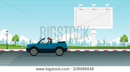 Women drive cars and have large billboards with city backdrops.