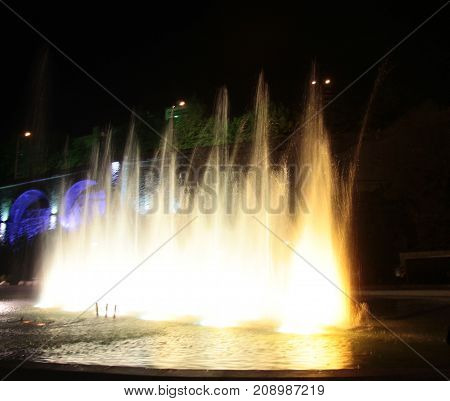Singing fountain at Rike square Tbilisi at night