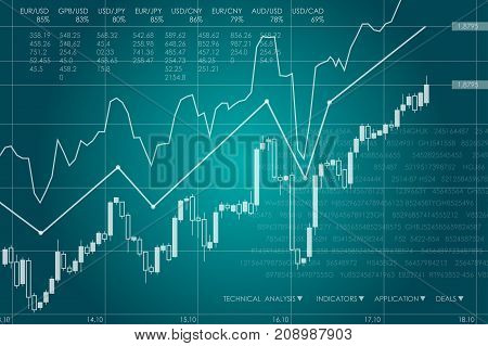 Vector business theme illustration. Background with graphs and figures.