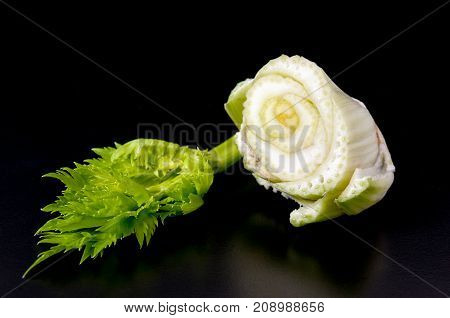 Petiolate Celery On A Black Table Background