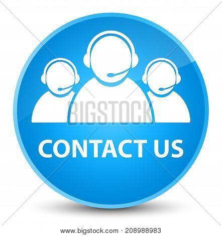 Contact Us (customer Care Team Icon) Elegant Cyan Blue Round Button