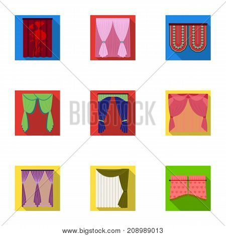 Textiles, curtains, drapes, and other  icon in flat style. Car, hand, furniture icons in set collection