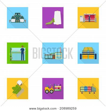 Machine, equipment, lift and other  icon in flat style. Inventory, textiles, industry icons in set collection.
