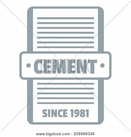 Cement logo. Gray monochrome illustration of cement vector logo for web