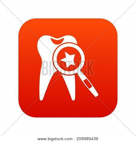 Tooth with magnifying glass icon digital red for any design isolated on white vector illustration